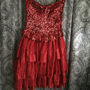 Dresses & Skirts - LADY IN RED    SEQUIN TOP/ LAYERED SKIRT GOWN